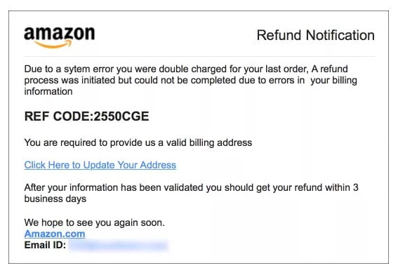 email spoof example amazon